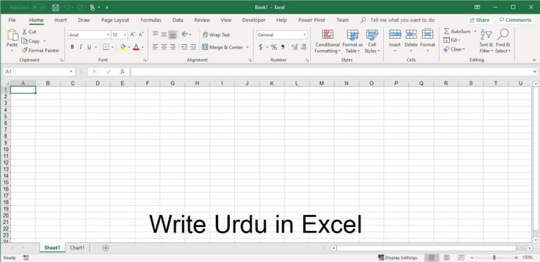How to Write urdu in excel